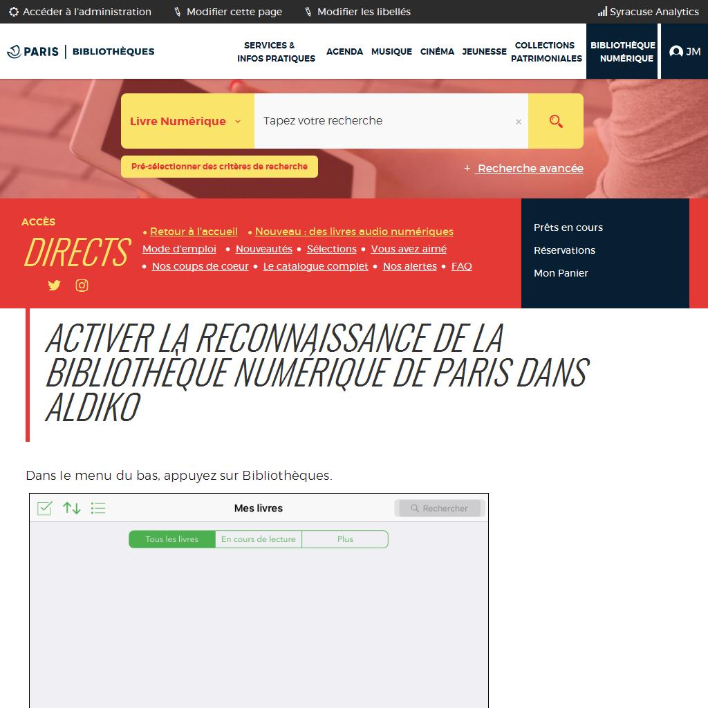 Activer la reconnaissance du catalogue Paris dans Aldiko |